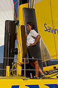 Dee Caffrey on the foredeck during her first shakedown sail aboard Aviva in Wellington Harbour. 1/1/2008