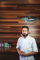 Portrait of Executive Chef and owner Andrew Gruel of Laguna Beach's Slapfish restaurant. Photographed for Laguna Beach Magazine on Sept. 11, 2014. Photo by Robert Zaleski/rzcreative.com