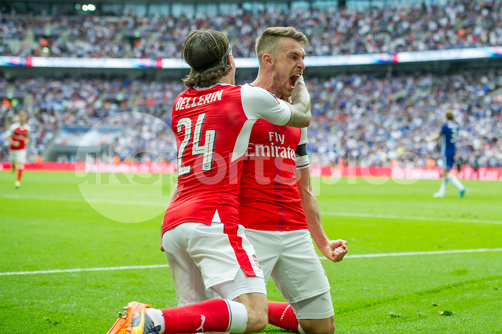 Aaron Ramsey of Arsenal celebrates scoring the goal to make it 2-1 during the Emirates FA Cup Final between Arsenal and Chelsea at Wembley Stadium, London, England on the 27th May 2017. Photo by Salvio Calabrese.
