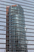 Tech Gate Vienna mit Spiegelung des Andromeda Towers, Wien.Architektur: Holzbauer und Partner
