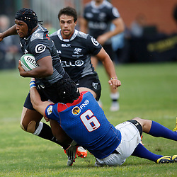 DURBAN, SOUTH AFRICA, 23, April 2016 - Rohan Kitshoff (Captain) of the Windhoek Draught Welwitschias tackling Khaya Majola (Captain) of the Cell C Sharks XV during the  Currie Cup Qualifiers match between The Cell C Sharks XV vs Windhoek Draught Welwitschias,King Zwelithini Stadium, Umlazi, Durban, South Africa. Kevin Sawyer (Steve Haag Sports) images for social media must have consent from Steve Haag