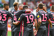 Pablo Hernandez of Leeds United (19) scores a goal and celebrates with team mates to make the score 0-1 during the EFL Sky Bet Championship match between Bristol City and Leeds United at Ashton Gate, Bristol, England on 4 August 2019.