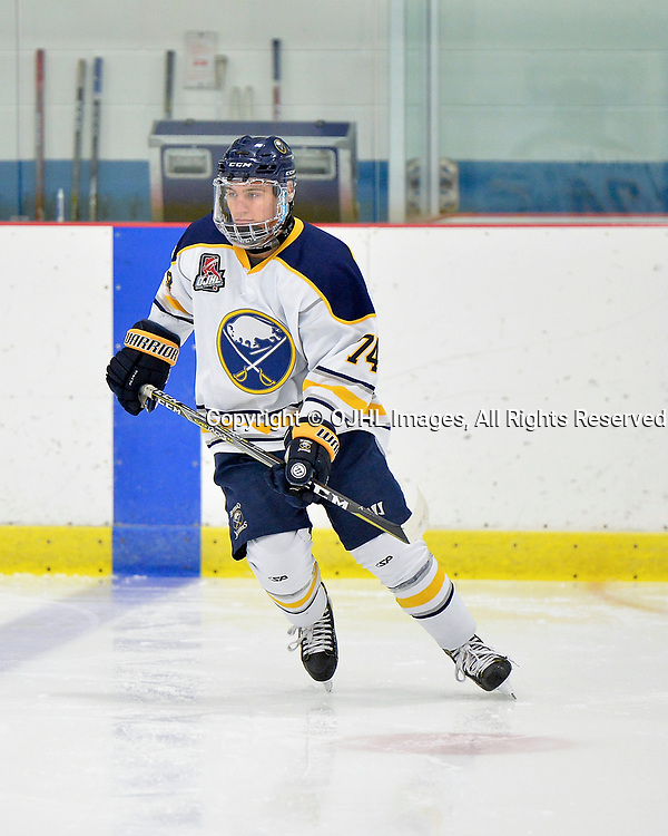 GEORGETOWN, ON  - NOV 4,  2017: Ontario Junior Hockey League game between the Georgetown Raiders and Buffalo Jr. Sabres. Jake Ballagh #74 of the Buffalo Jr. Sabres participates in pregame warm-up.<br /> (Photo by Shawn Muir / OJHL Images)