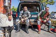 Anaheim , California - April 11, 2015: Lamia Knights (L-R) Alexander Casillas, Adam Larios, and William Becking wait outside the Anaheim Central Library in California before MicroCon 2015, Saturday April 11, 2015. The Lamia Knights are the official sports team of the Shiloh micronation. They would later demonstrate 45 seconds of combat during MicroCon 2015. <br /> <br /> <br /> MicroCon 2015 is a Micronation conference held at the Anaheim Central Library.<br /> CREDIT: Matt Roth