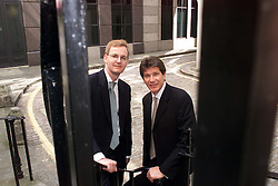 Royal Blue Group results at Suffolk Lane, EC4, London.Chief Ex John Hamer, (dark hair) an Andy Malpass Finance director (with glasses).31/7/2000.Photo by Andrew Parsons/i-Images.All Rights Reserved ©Andrew Parsons/i-images.See Instructions.