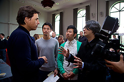 CARDIFF, WALES - Thursday, March 16, 2017: Wales' manager Chris Coleman chats with reporters from Japan after a press conference at the Vale Resort to announce his squad for the forthcoming 2018 FIFA World Cup Qualifying Group D match against Republic of Ireland. (Pic by David Rawcliffe/Propaganda)