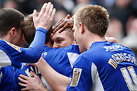 Photo: Steve Bond/Richard Lane Photography. Leicester City v Cardiff City. Coca Cola Championship. 13/03/2010. Martyn Waghorn (centre) is buried as he celebrates