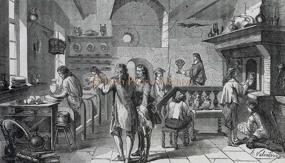 Bottger (c1681-1719) attempting to make p;orcelain.