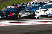 June 28 - July 1, 2018: Lamborghini Super Trofeo Watkins Glen. Start of race 2 at Watkins Glen with 29 Corey Lewis, Madison Snow, Change Racing, Lamborghini Carolinas, Lamborghini Huracan Super Trofeo EVO, 1 Trent Hindman, Jonathan Cecotto, Wayne Taylor Racing, Prestige, Lamborghini Paramus, Lamborghini Huracan Super Trofeo EVO, 46 Brandon Gdovic, Shinya Sean Michimi, PPM, Lamborghini Palm Beach Lamborghini Huracan Super Trofeo EVO leading