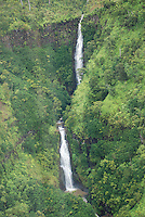 Aerial view taken from a helicopter of waterfalls in Hawaii