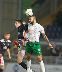 Falkirk's David Smith and Hibernian's Liam Fontaine. <br /> Falkirk 1 v 0 Hibernian, Scottish Championship game played 6/12/2014 at The Falkirk Stadium .