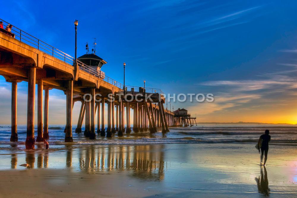 Surfer at Huntington Beach Pier