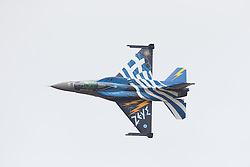 © Licensed to London News Pictures. 17/07/2015. RAF Fairford, UK. Greek Air Force Demo Team 'Zeus' F-16 The Royal International Air Tattoo (RIAT). Photo credit : Ian Schofield/LNP