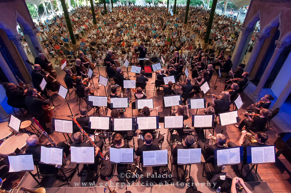 Festival Finale with the Orchestra of St. Luke's , featureing H&eacute;l&egrave;ne Grimaud, <br /> piano, and Pablo Heras-Casado, conductor<br /> in the Venetian Theater at Caramoor in Katonah New York on August 2, 2015. <br /> (photo by Gabe Palacio)