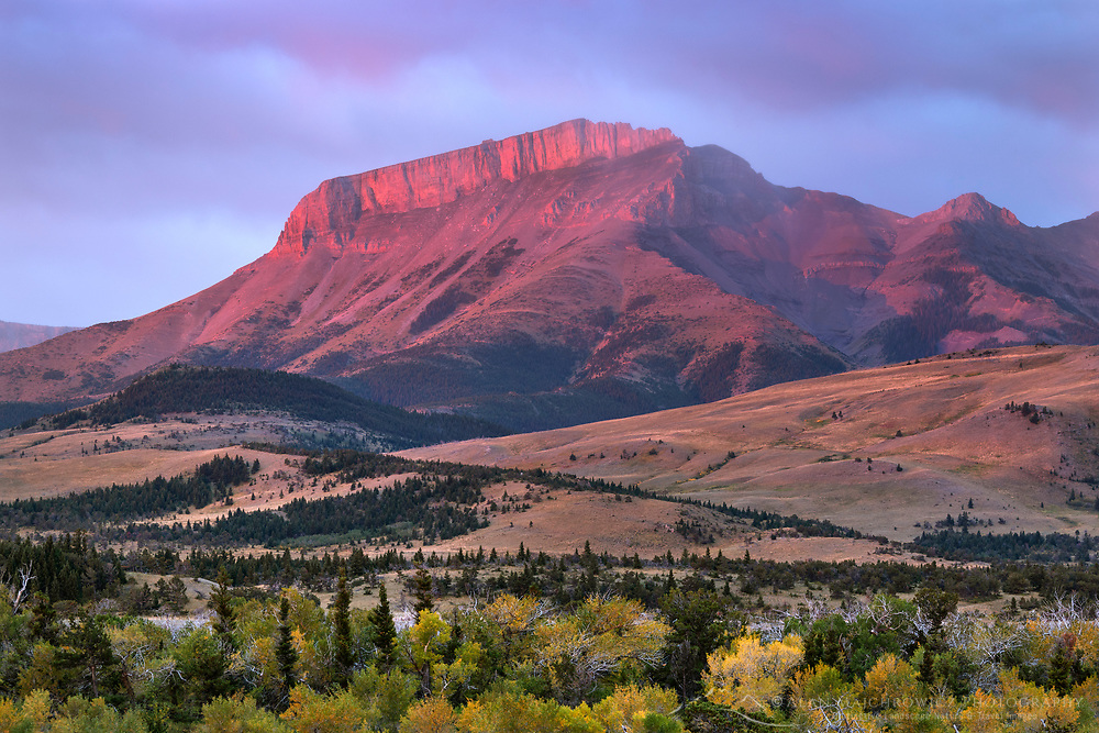 Ear Mountain at sunrise, Rocky Mountain front ranges near Choteau Montana