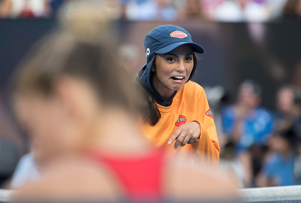 A ball kid during the women's singles championship match during the 2018 Australian Open on day 13 in Melbourne, Australia on Saturday night January 27, 2018.<br /> (Ben Solomon/Tennis Australia)