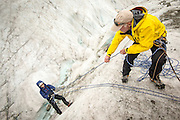 Guide Steve Jones teaching crevasse rescue on the Mer de Glace