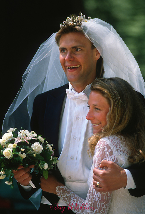 Nancy Hedqvist and her husband Anders Hedqvist celebrate their wedding day.   Federal magistrate Don Pitts performed the ceremony on the summit of Sentinel Dome.  May 28, 1989.