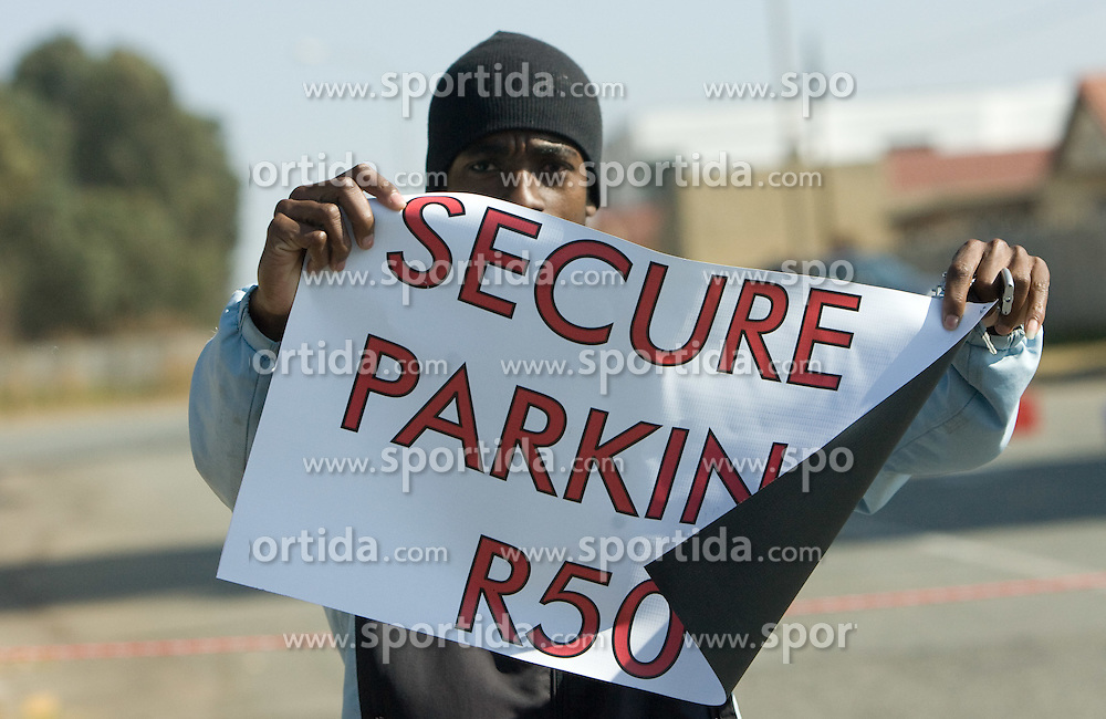 Secure parking for South Africa and Mexico fans when they arrive for the Opening Ceremony ahead of the 2010 FIFA World Cup South Africa Group A match between South Africa and Mexico near Soccer City Stadium on June 11, 2010 in Johannesburg, South Africa.  (Photo by Vid Ponikvar / Sportida)