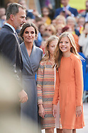 King Felipe VI of Spain, Queen Letizia of Spain, Crown Princess Leonor, Princess Sofia arrived to Alfonso II Square (Cathedral's Square) for Princesa de Asturias Awards 2019 on October 17, 2019 in Oviedo, Spain