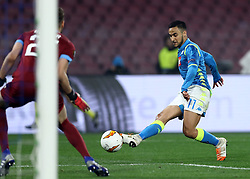 February 21, 2019 - Rome, Italy - SSC Napoli v FC Zurich - UEFA Europa League Round of 32.Adam Ounas of Napoli scores the goal of 2-0 at San Paolo Stadium in Naples, Italy on February 21, 2019. (Credit Image: © Matteo Ciambelli/NurPhoto via ZUMA Press)
