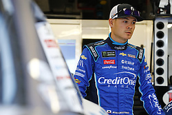 March 2, 2018 - Las Vegas, Nevada, United States of America - March 02, 2018 - Las Vegas, Nevada, USA: Kyle Larson (42) hangs out in the garage during practice for the Boyd Gaming 300 at Las Vegas Motor Speedway in Las Vegas, Nevada. (Credit Image: © Chris Owens Asp Inc/ASP via ZUMA Wire)