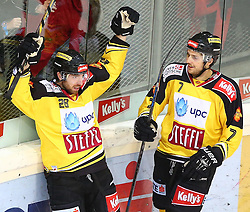 26.12.2014, Albert Schultz Eishalle, Wien, AUT, EBEL, UPC Vienna Capitals vs HC Orli Znojmo, 31. Runde, im Bild Torjubel Andreas Noedl (UPC Vienna Capitals) und Brett Carson (UPC Vienna Capitals) // during the Erste Bank Icehockey League 31st Round match between UPC Vienna Capitals and HC Orli Znojmo at the Albert Schultz Ice Arena, Vienna, Austria on 2014/12/26. EXPA Pictures © 2014, PhotoCredit: EXPA/ Thomas Haumer