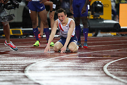 London, August 09 2017 . Karsten Warholm, Norway, kneels on the track getting his breath after his victory, becoming world champion in the men's 400m hurdles final  on day six of the IAAF London 2017 world Championships at the London Stadium. © Paul Davey.