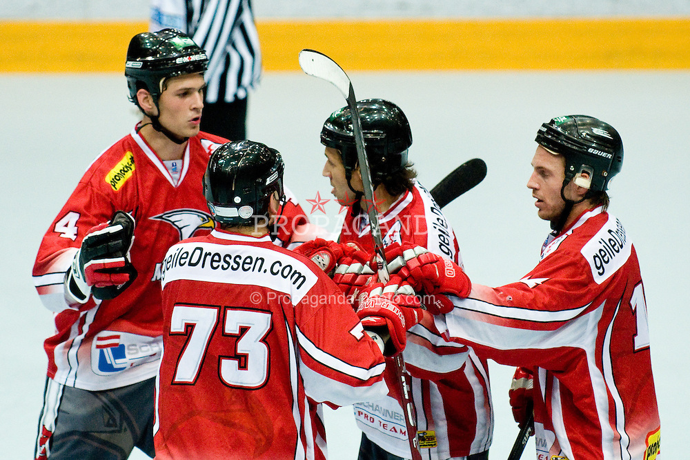 29.06.2010, Löfbergs Lila Arena, Karlstad, SWE, IIHF In Line Hockey World Championships 2010, Finland (FIN) vs Austria (AUT), im Bild Austrian team celebrating scoring first goal at Game 5 of IIHF In-Line Hockey. EXPA Pictures © 2010, PhotoCredit: EXPA/ Sportida/ Matic Klansek Velej +++ Slovenia OUT +++