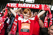 A young Whitehawk fan celebrates victory after the The FA Cup match between Whitehawk FC and Lincoln City at the Enclosed Ground, Whitehawk, United Kingdom on 8 November 2015. Photo by Bennett Dean.