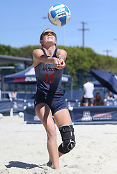 April 7, 2018 - Tucson, AZ, U.S. - TUCSON, AZ - APRIL 07: Arizona Wildcats defender Stephany Purdue (15) hits the ball during a college beach volleyball match between the California Golden Bears and the Arizona Wildcats on April 07, 2018, at Bear Down Beach in Tucson, AZ. Arizona defeated California 3-2. (Photo by Jacob Snow/Icon Sportswire (Credit Image: © Jacob Snow/Icon SMI via ZUMA Press)