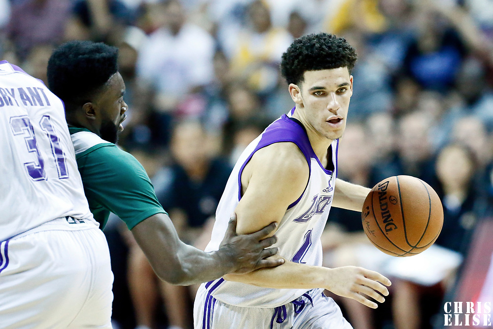 08 July 2017: Los Angeles Lakers Lonzo Ball is seen during the NBA Summer League Los Angeles Lakers game vs Boston Celtics, at the Thomas & Mack Center, Las Vegas, Nevada, USA.