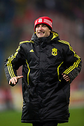 BUCHAREST, ROMANIA - Thursday, December 2, 2010: Liverpool's Milan Jovanovic celebrates with the supporters after his goal helped the Reds to a 1-1 draw with FC Steaua Bucuresti during the UEFA Europa League Group K match at the Stadionul Steaua. (Pic by: David Rawcliffe/Propaganda)