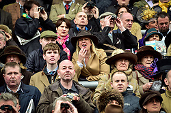 Racegoers react watching the Timico Cheltenham Gold Cup Chase during Gold Cup Day of the 2017 Cheltenham Festival at Cheltenham Racecourse.