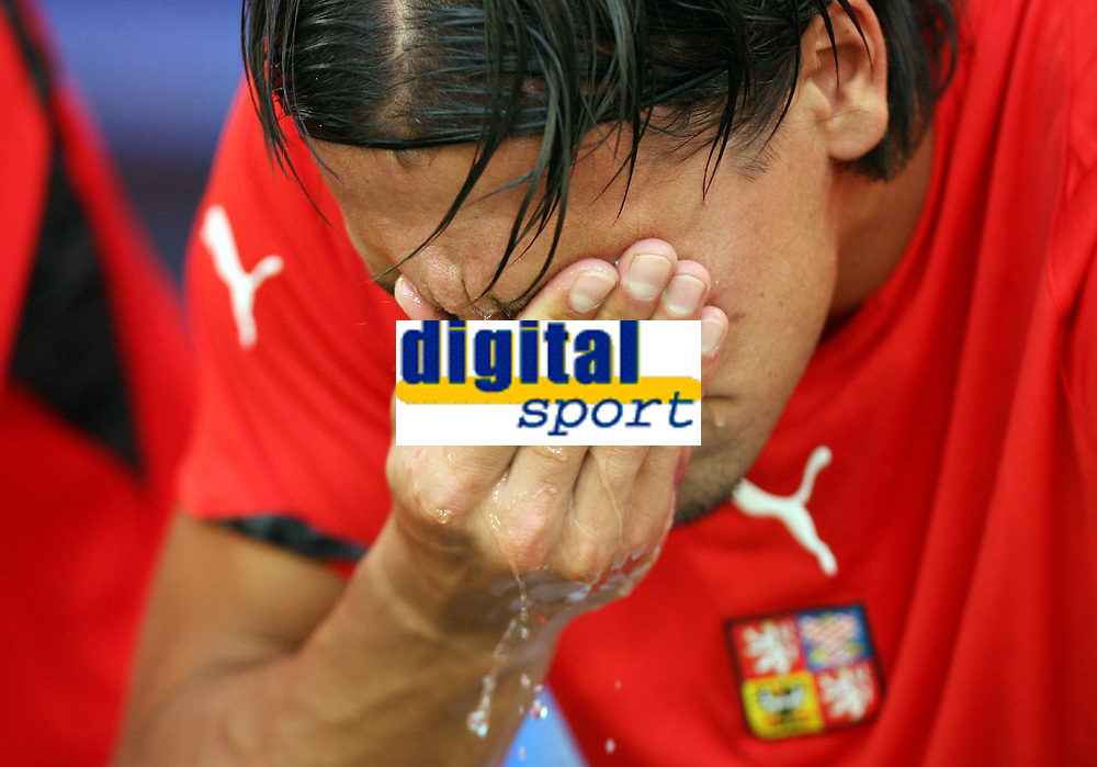 Photo: Chris Ratcliffe.<br /> USA v Czech Republic. Group E, FIFA World Cup 2006. 12/06/2006.<br /> Milan Baros of Czech Republic crys as his tournament may be over.