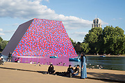 Christo sculpture on the Serpentine, ,Barrels and the Mastaba 1958 - 2018, London, 21 June 2018
