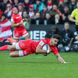 Romain NTAMACK of Toulouse scores a try during the European Rugby Champions Cup, Pool 5 match between Toulouse and Gloucester on January 19, 2020 in Toulouse, France. (Photo by Manuel Blondeau/Icon Sport) <br /> <br /> Photo by Icon Sport - Stade Ernest-Wallon - Toulouse (France)