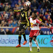 Kei Kamara, (left), Columbus Crew SC, is challenged by Ronald Zubar, New York Red Bulls, during the New York Red Bulls Vs Columbus Crew SC, Major League Soccer Eastern Conference Championship, second leg, at Red Bull Arena, Harrison, New Jersey. USA. 29th November 2015. Photo Tim Clayton