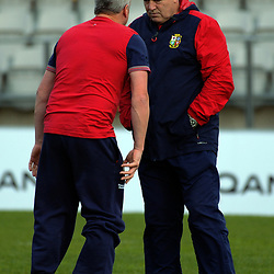 "Strength & conditioning coach Paul ""Bobby"" Stridgeon chats with Lions head coach Warren Gatland  during the 2017 DHL Lions Series rugby union British & Irish Lions 2nd test captain's run at Porirua Park in Porirua, New Zealand on Friday, 30 June 2017. Photo: Dave Lintott / lintottphoto.co.nz"
