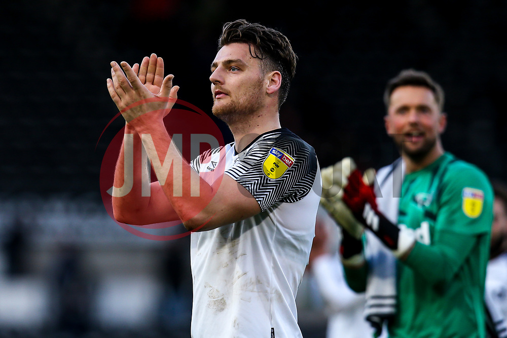 Chris Martin of Derby County celebrates victory over Blackburn Rovers - Mandatory by-line: Robbie Stephenson/JMP - 08/03/2020 - FOOTBALL - Pride Park Stadium - Derby, England - Derby County v Blackburn Rovers - Sky Bet Championship