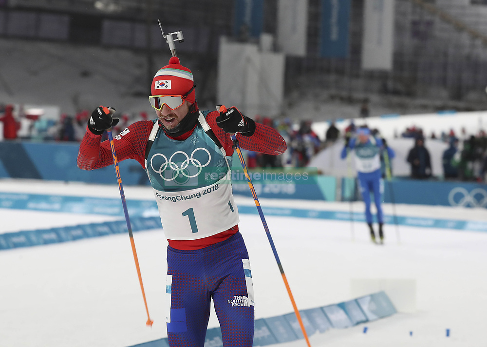 February 11, 2018 - Pyeongchang, GANGWON, SOUTH KOREA - Feb 11, 2018-Pyeongchang, South Korea-Timofei LAPSHIN of South Korea action on the snow during an Olympic Biathlon Mens Sprint 10Km at Biathlon Center in Pyeongchang, South Korea. (Credit Image: © Gmc via ZUMA Wire)