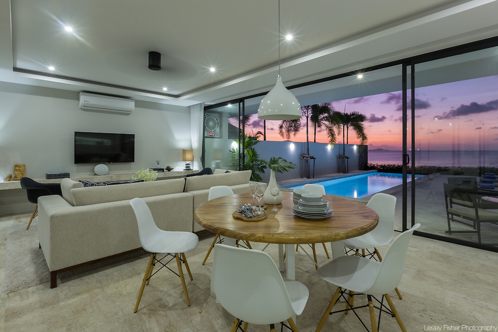 Dining & Kitchen area at Villa Song, a 2 bedroom beach front villa located in Plai Laem, Koh Samui, Thailand