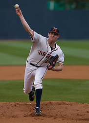 Virginia Cavaliers P Jacob Thompson (25) pitches against VT.  The #15 ranked Virginia Cavaliers baseball team defeated the Virginia Tech Hokies 10-1 at the University of Virginia's Davenport Field in Charlottesville, VA on March 28, 2008.