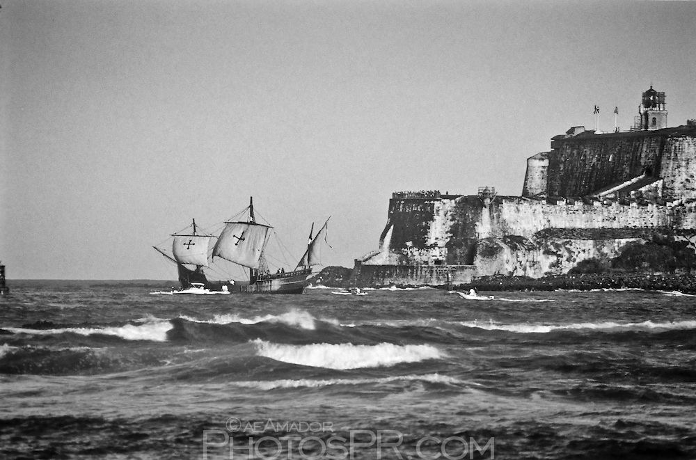 Columbus ship replica leaving San Juan (La Gran Regata Colón 1992)
