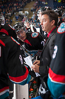 KELOWNA, CANADA - SEPTEMBER 28:  Joe Gatenby #28 of the Kelowna Rockets stands on the bench against the Victoria Royals  at the Kelowna Rockets on September 28, 2013 at Prospera Place in Kelowna, British Columbia, Canada (Photo by Marissa Baecker/Shoot the Breeze) *** Local Caption ***