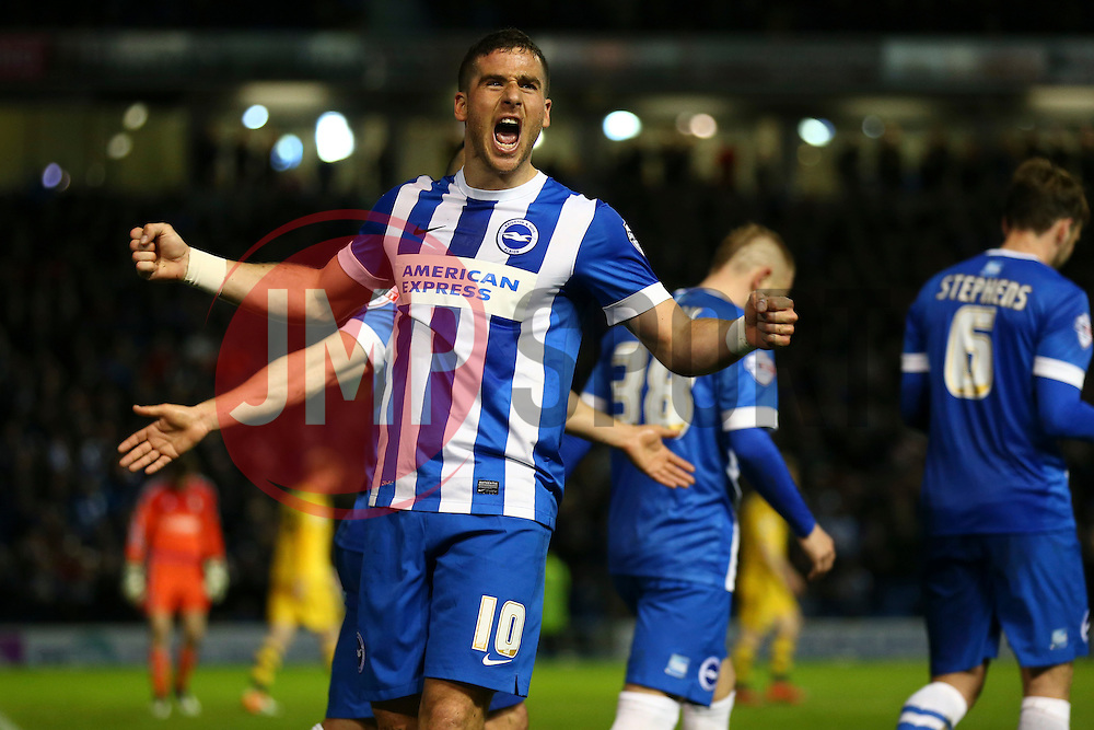 Goal. Tomer Hemed of Brighton & Hove Albion scores, Brighton & Hove Albion 2-0 Fulham - Mandatory byline: Jason Brown/JMP - 07966 386802 - 15/04/2016 - FOOTBALL - American Express Community Stadium - Brighton,  England - Brighton & Hove Albion v Fulham - Championship