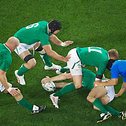 Irish players Paul O'Connell, (left) Stephen Ferris, (centre) and  Keith Earls, protect the ball in the breakdown during the Ireland V Italy Pool C match during the IRB Rugby World Cup tournament. Otago Stadium, Dunedin, New Zealand, 2nd October 2011. Photo Tim Clayton...