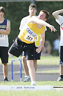 London, Ontario ---07/06/08--- Jason Rose of Charlottenburgh&LancasterinWill competes in the Shot put at the 2008 OFSAA Track and Field meet in Hamilton, Ontario..Sean Burges