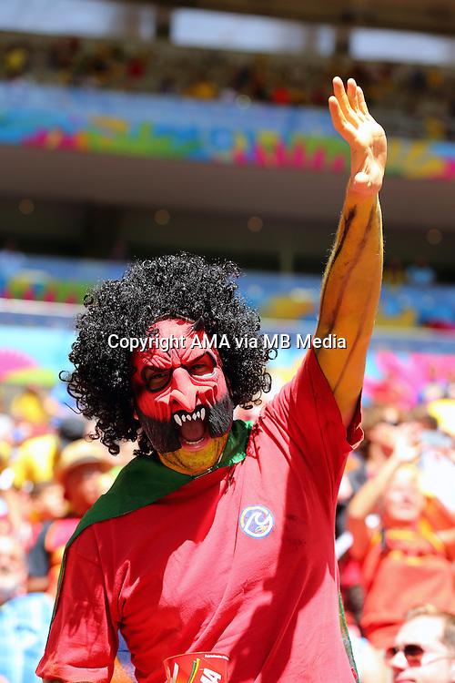 A fan of Belgium wearing a mask