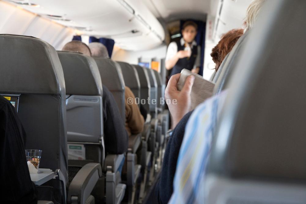 stewardess serving passengers